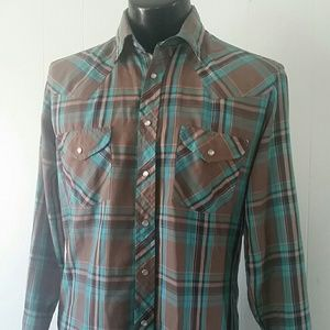 Light Plaid Western Shirt Cowboy Snaps button up